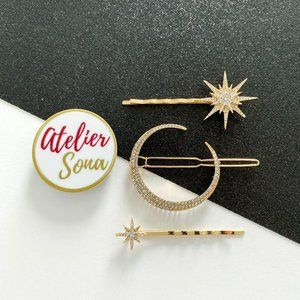 Stars and Moon Hair Clips - Set of 3